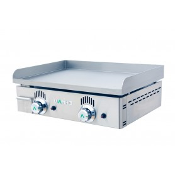 Plancha lisse 2 brûleurs gaz - 600x440x220 mm - 8,2 kW - surface utile 590x430 mm - NC60 - plaque chromée 15 mm