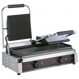 Grill panini rainuré - 230 V mono - GM double - 570x300x210 mm 3,6 kW