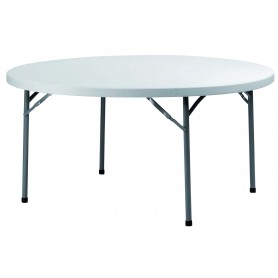 TABLE RONDE D152 BL PIED PLIANT