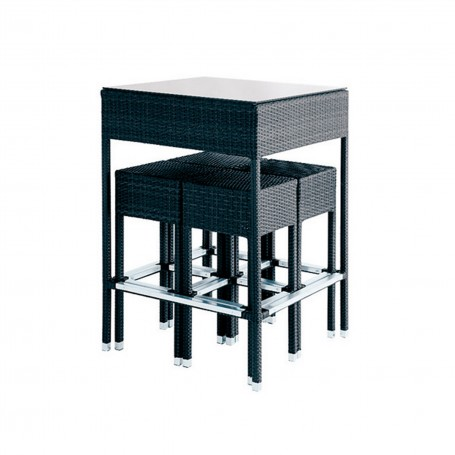 SET TABLE MANGE DEBOUT TRESSEE + 4 TABOURETS - MOKA
