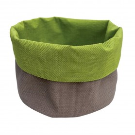 CORBEILLE ROND TAUPE/ANIS 15CM