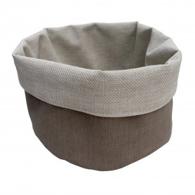 CORBEILLE ROND TAUPE/BEIGE 15CM