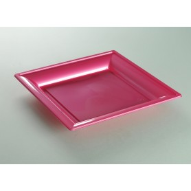 ASSIETTE THERMOFORME CARREE FUSHIA
