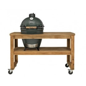 TABLE EN ACACIA SUR ROULETTES POUR BARBECUE LARGE - BIG GREEN EGG