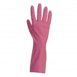 Gants de ménage latex rose - Flocké coton - Taille S