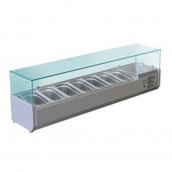 Vitrine à ingrédients réfrigérée VRX 150 - 7 bacs GN1/4 - 1500x335x435 mm